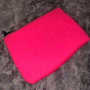 Victoria's Secret Hot Pink Makeup/Beach Zip Bag